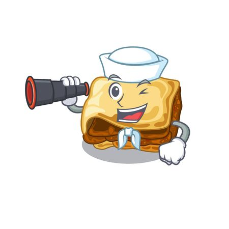 Sailor with binocular moussaka isolated with in the cartoon vector illustration