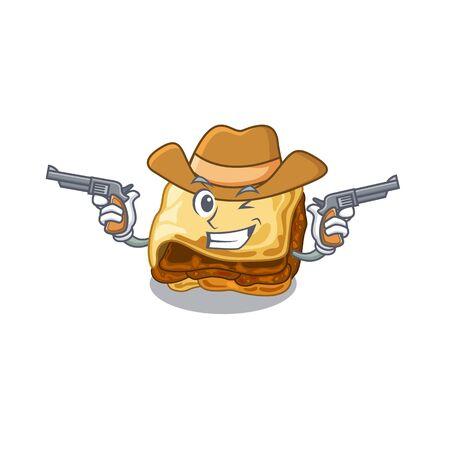 Cowboy moussaka with in the mascot shape