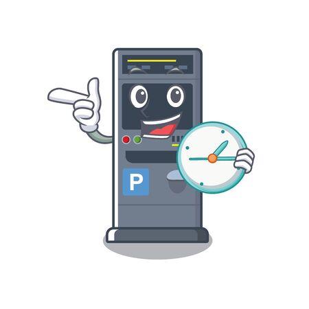 With clock parking vending machine the cartoon shape Ilustração