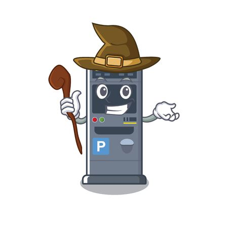 Witch parking vending machine isolated the mascot vector illustration