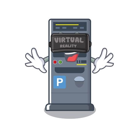 Virtual reality parking vending machine isolated the mascot vector illustration