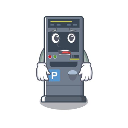 Afraid parking vending machine isolated the mascot vector illustration