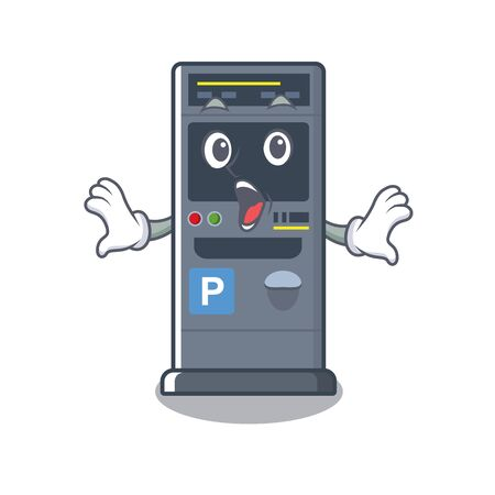 Surprised parking vending machine isolated the mascot