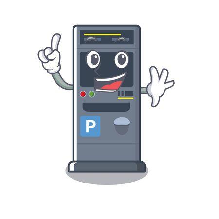 Finger parking vending machines cartoon the door Illustration