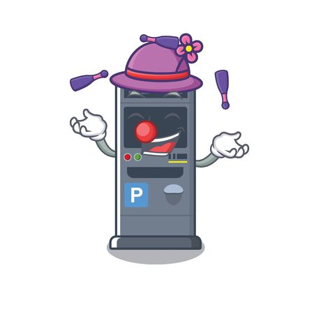 Juggling vending machines park cartoon the door vector illustration