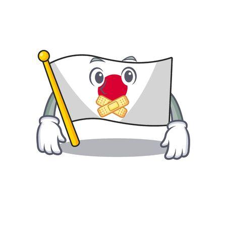 Silent Japan flag folded above mascot table Ilustração