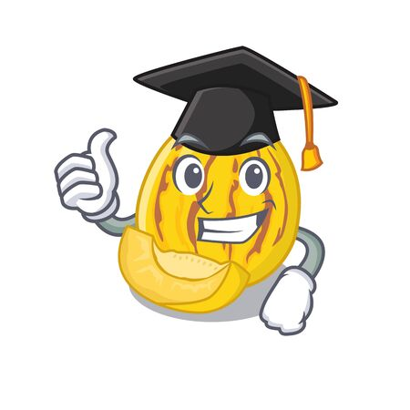 Graduation pepino melon in a cartoon basket vector illustration