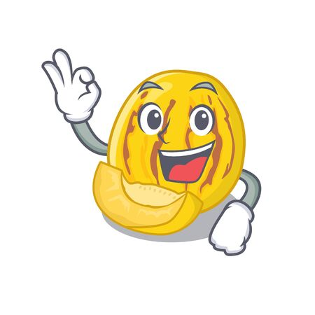 Okay pepino melon in a cartoon basket vector illustration Stock Illustratie
