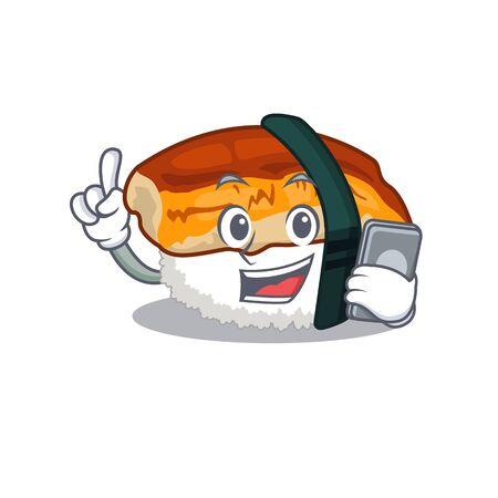 With phone unagi sushi served above mascot plate