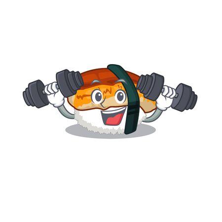 Fitness unagi sushi served above mascot plate