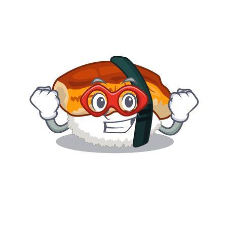 Super hero sushi unagi isolated in the cartoon Illustration