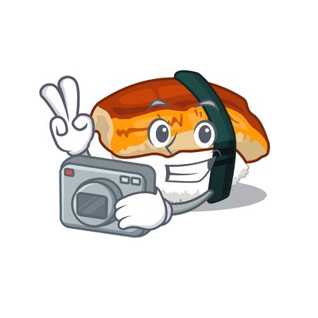 Photographer unagi sushi in the character lunchbox Illustration