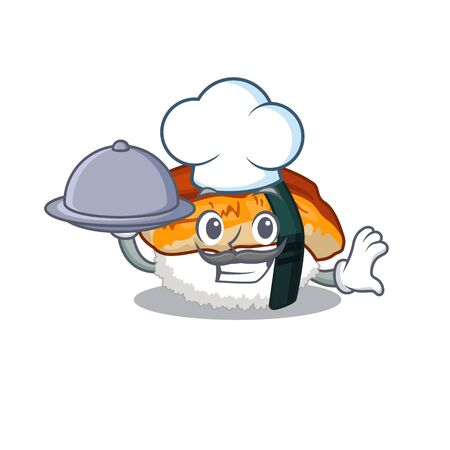 Chef with food unagi sushi in the character lunchbox vector illustration