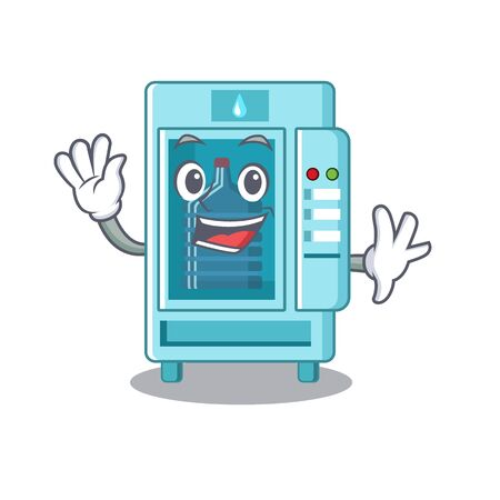 Waving water vending machine in a character