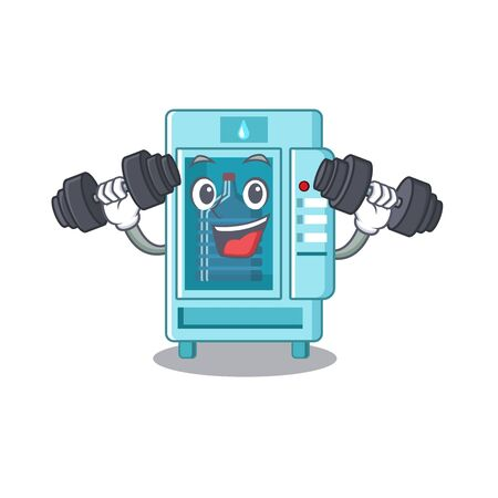 Fitness water vending machine in mascot shape vector illustration