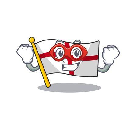 Super hero flag england with the cartoon shape
