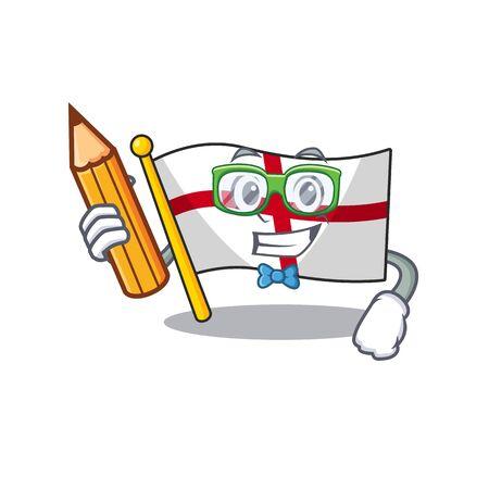 Student flag england with the cartoon shape vector illustration Ilustração