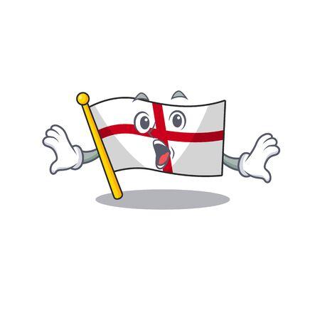 Surprised england flag folded above cartoon table