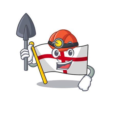 Miner england flag folded above cartoon table