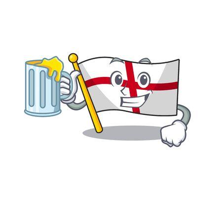 With juice england flag folded above cartoon table 向量圖像