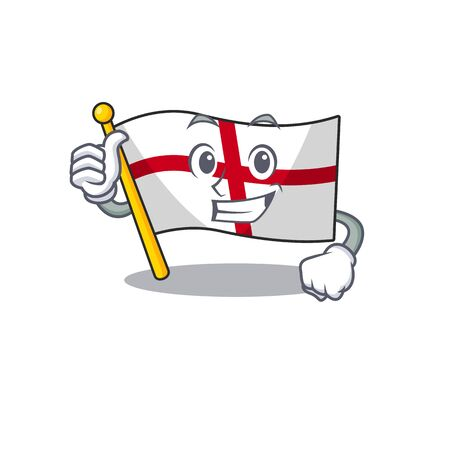 Thumbs up flag england with the cartoon shape 向量圖像