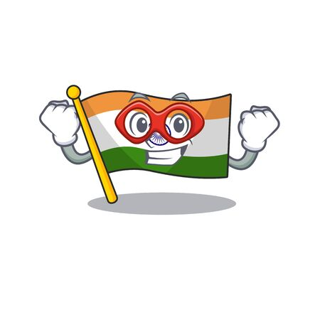 Super hero flag indian with the mascot shape Stock Illustratie