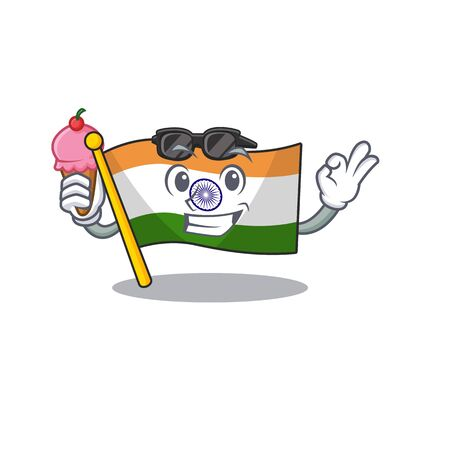 With ice cream flag indian with the mascot shape