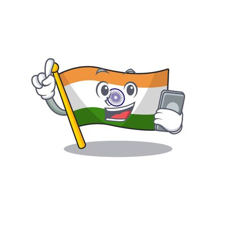 With phone Indian flag kept in cartoon drawer vector illustration