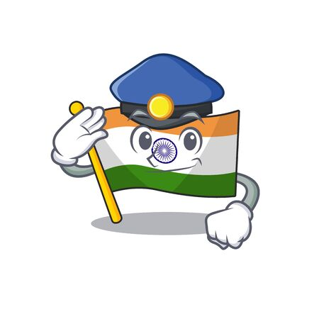 Police Indian flag kept in cartoon drawer vector illustration