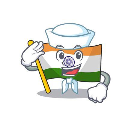 Sailor Indian flag kept in cartoon drawer vector illustration