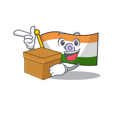 With box flag indian with the mascot shape vector illustration Ilustração