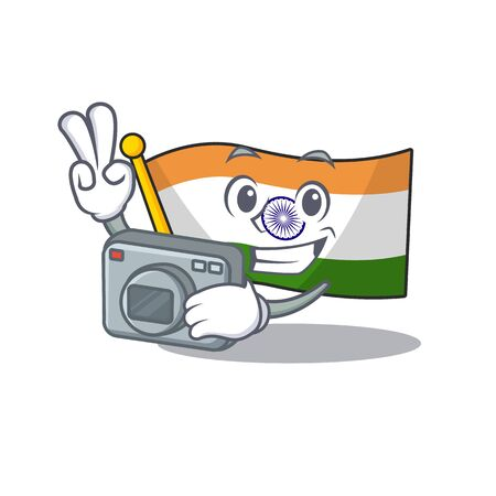 Photographer flag indian isolated in the character Ilustracja