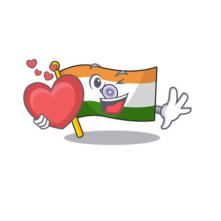With heart flag indian isolated in the character