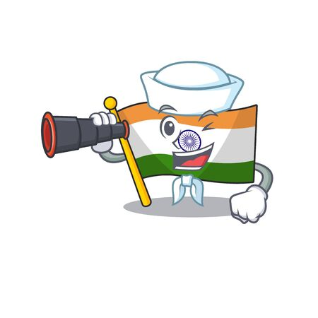 Sailor with binocular flag indian isolated in the character
