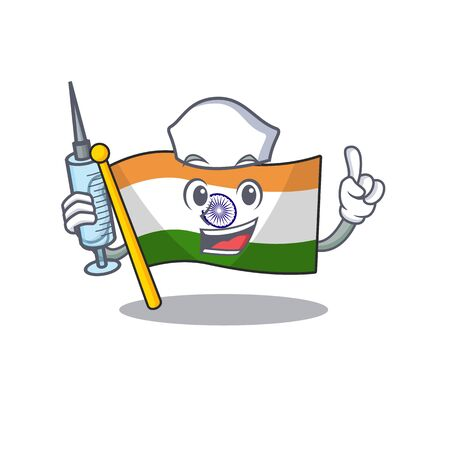 Nurse flag indian with the mascot shape Ilustracja