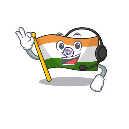 With headphone indian flag kept in cartoon cupboard