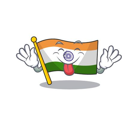 Tongue out indian flag kept in cartoon cupboard