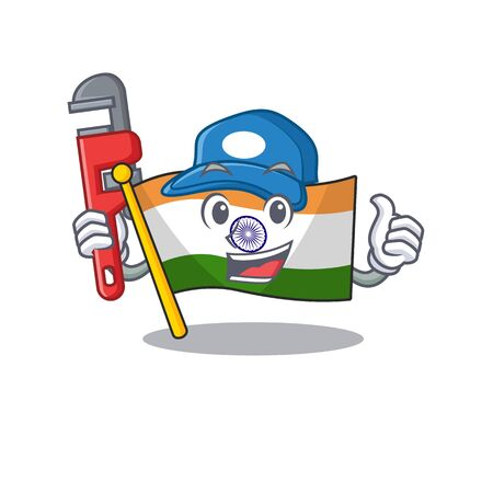 Plumber indian flag kept in cartoon cupboard