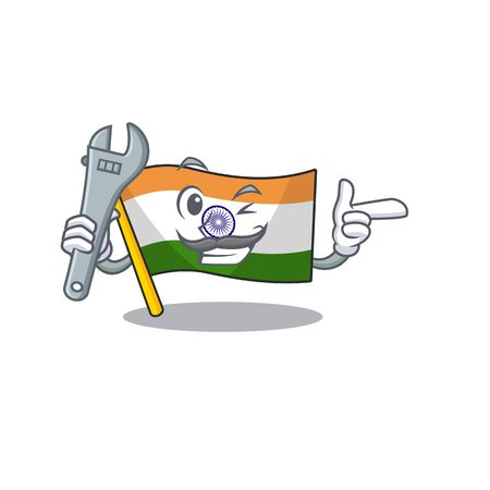 Mechanic indian flag kept in cartoon cupboard