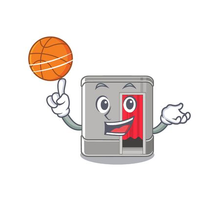 With basketball photo booth in the character shape vector illustration Standard-Bild - 128818846
