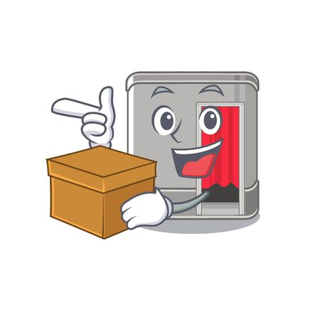 With box cartoon photo booth in living room vector illustration