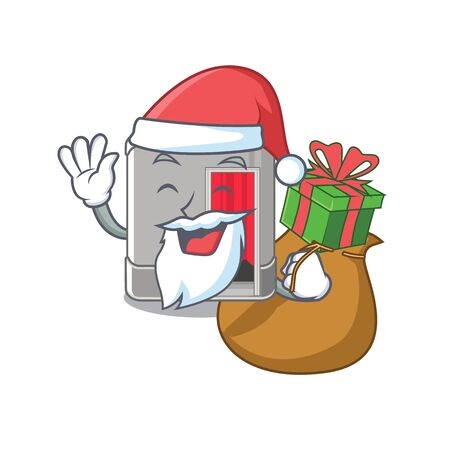 Santa with gift photo booth next to mascot table vector illustration