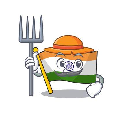 Farmer Indian flag kept in cartoon drawer Ilustrace