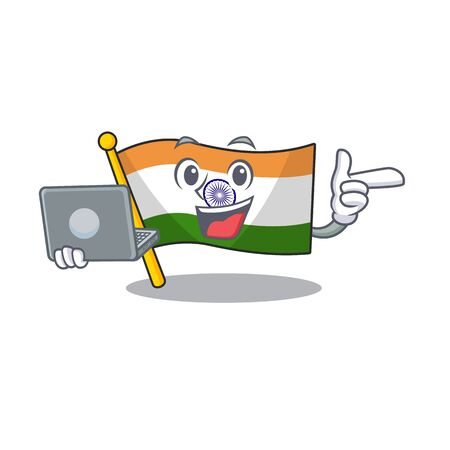 With laptop Indian flag kept in cartoon drawer