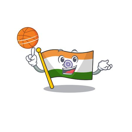 With basketball Indian flag kept in cartoon drawer Ilustrace