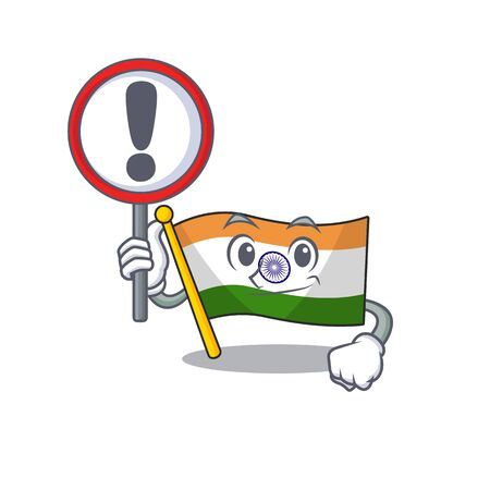 With sign Indian flag kept in cartoon drawer