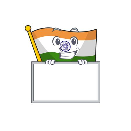 Grinning with board Indian flag kept in cartoon drawer