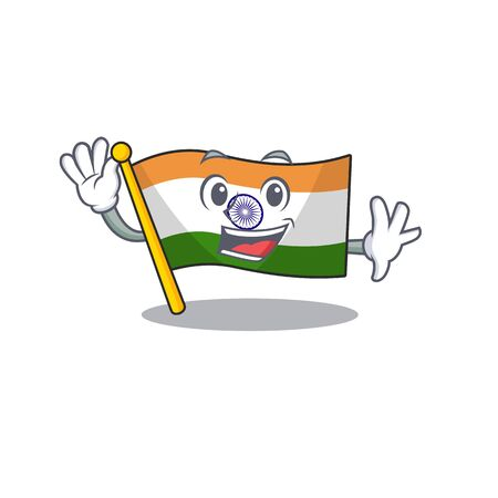 Waving flag indian with the mascot shape vector illustration