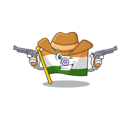 Cowboy Indian flag kept in cartoon drawer