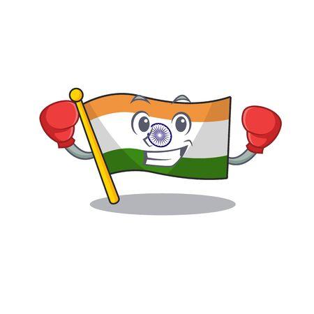 Boxing Indian flag kept in cartoon drawer